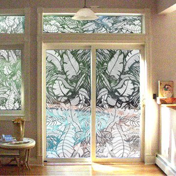 Textured Glass Sidelites Placed Side By Side To Create Wider Panels And  Trimmed In Between.